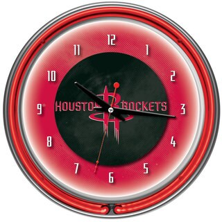 Houston Rockets NBA Chrome Double Neon Ring Clock