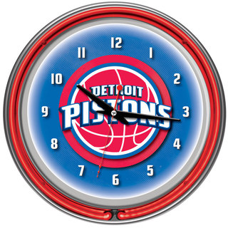 Detroit Pistons NBA Chrome Double Neon Ring Clock