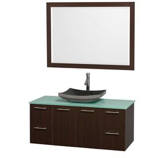 Wyndham Collection 'Amare' 48-inch Espresso/ Green Top/ Granite Sink Vanity Set
