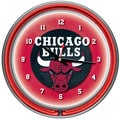 Chicago Bulls NBA Chrome Double Neon Ring Clock