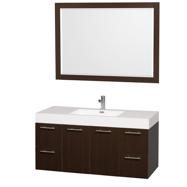 Http Www Overstock Com Home Garden Wyndham Collection Amare 48 Inch Espresso White Single Vanity Set 7711056 Product Html