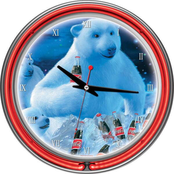 Coca-Cola Polar Bears with Coke Bottle/ Cubs Neon Clock