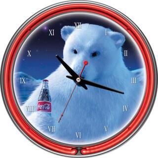 Coca-Cola Polar Bear with Coke Bottle Neon Clock