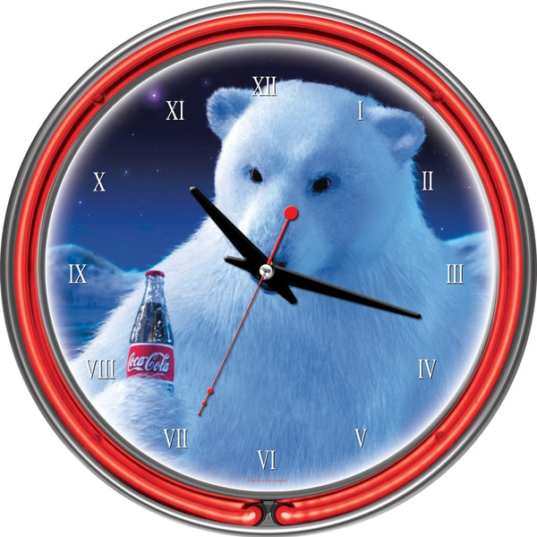 Coca-Cola Polar Bear with Coke Bottle Neon Clock
