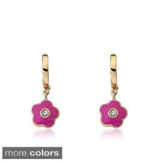 Little Miss Twin Stars 14k Goldplated Crystal Flower Earrings