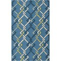 Hand-hooked Blue Indoor/Outdoor Geometric Rug (2' x 3')