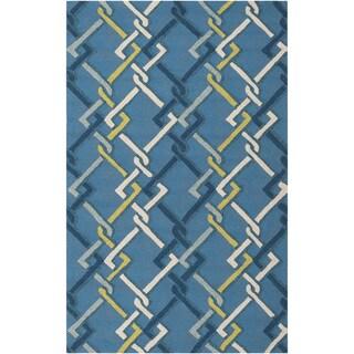 Hand-hooked Blue Indoor/Outdoor Geometric Rug (8' x 10')