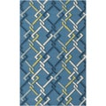 Hand-hooked Blue Indoor/Outdoor Geometric Rug (8' x 10')