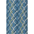 Hand-hooked Blue Indoor/Outdoor Geometric Rug (3' x 5')
