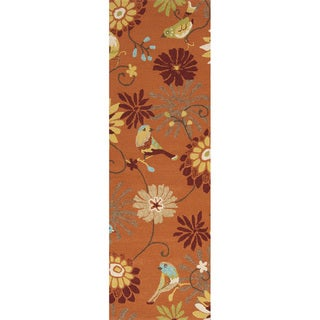 Hand-hooked Orange Indoor/Outdoor Floral Rug (2'6 x 8')