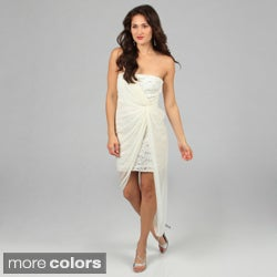 Jump Apparel Juniors Sequin Lace/ Sheer Mock Wrap Dress