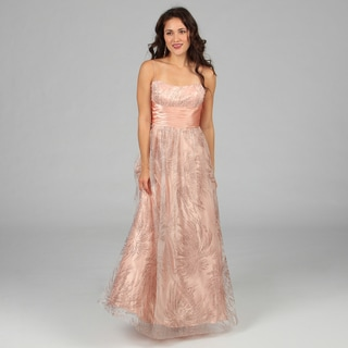 Jump Apparel Juniors Peach Lace-up Back Long Gown