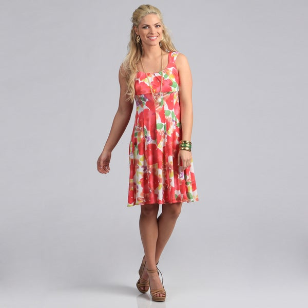 London Times Floral Printed Matte Jersey Flare Dress