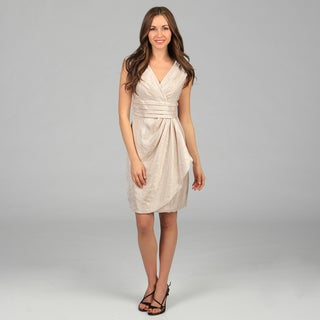 London Times Women's Oyster Shimmery Sheath Dress