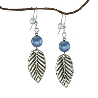 Blue With Leaf Earrings