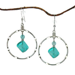 Large Aqua And Silver Plated Notched Hoop Earrings