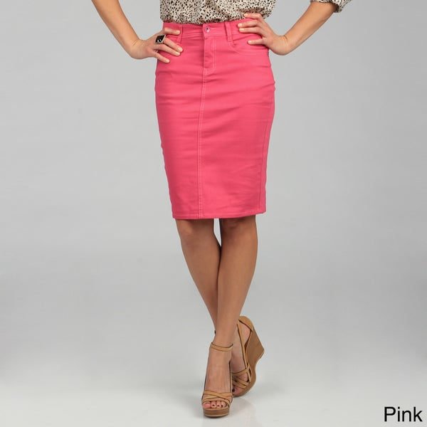 tabeez s colored denim pencil skirt 15117130