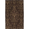 Hand-hooked Dark Chocolate Indoor/Outdoor Damask Print Rug (2' x 3')