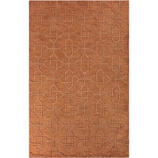 Hand-crafted Urich Solid Orange Geometric Wool Rug (5' x 8')