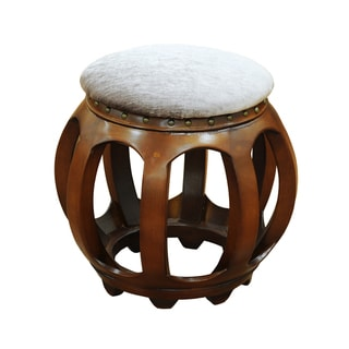Accent Furniture Carved Wood Ottoman Tan Valet
