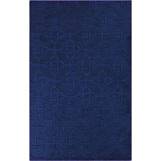 Hand-crafted Viburnum Solid Blue Geometric Wool Rug (5' x 8')