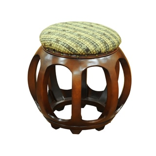 Accent Furniture Carved Wood Ottoman Tan Dots
