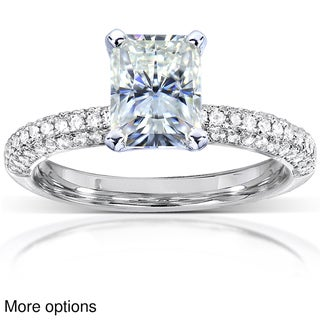 14k White Gold Prong-set Moissanite and 1/4ct TDW Diamond Engagement Ring (G-H, I1-I2)