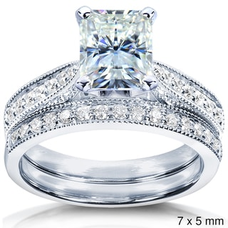Annello 14k Gold Radiant Moissanite and 1/3ct TDW Diamond Bridal Ring Set (G-H, I1-I2)