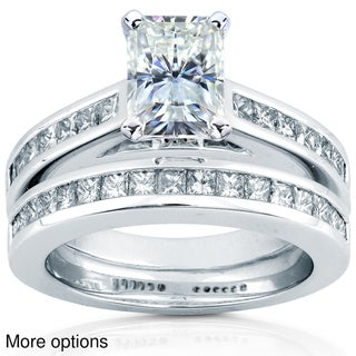 14k White Gold Moissanite and 1ct TDW Diamond Bridal Ring Set (H-I, I1-I2)