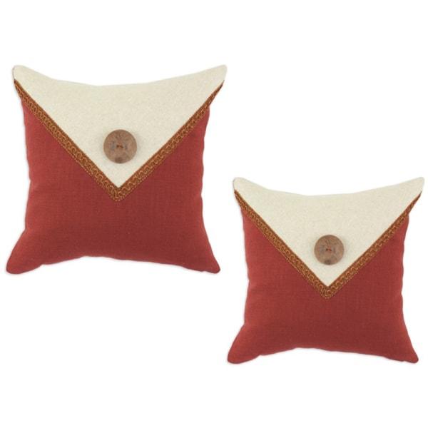 Circa Linen Lava-Linen Natural Envelope Button with Fira Gimp Throw Pillows (Set of 2)