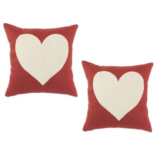 Circa Solid Lava 17x17-inch Linen Heart Throw Pillows (Set of 2)