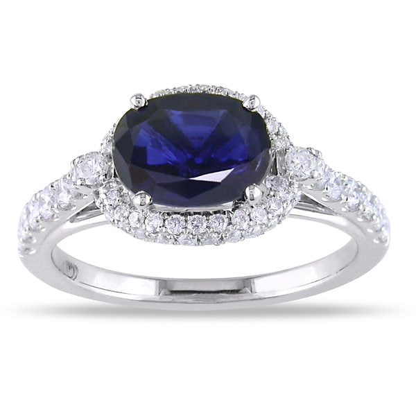 Miadora 18k White Gold Sapphire and 1/2ct TDW Diamond Ring (G-H, SI1- SI2)