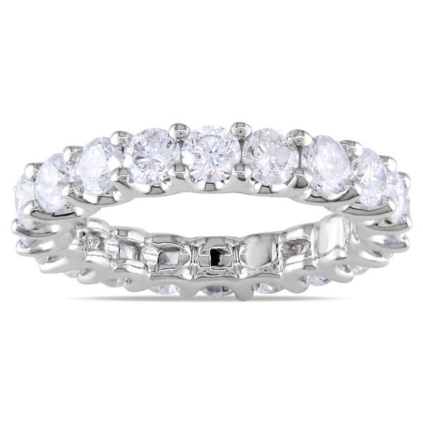 Miadora Signature Collection 18k White Gold 3ct TDW Diamond Eternity Ring (G-H, SI1-SI2)