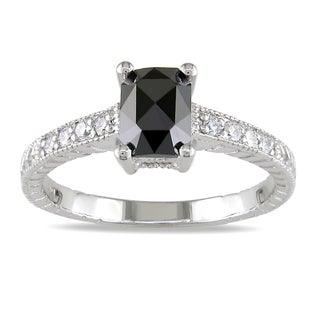Miadora 14k White Gold 1ct TDW Black and White Diamond Ring (G-H, SI1-SI2)