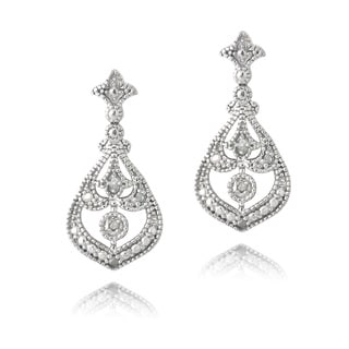 DB Designs Sterling Silver 1/10ct TDW Diamonds Dangle Earrings (J, I3)