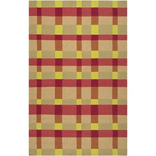 Hand-hooked Summer Orange Indoor/Outdoor Bright Plaid Rug (9' x 12')