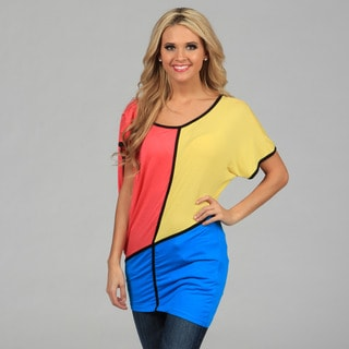 Miso Women's Mod Color-blocked V-back Top