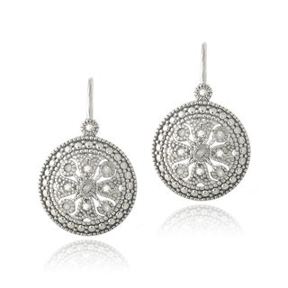 DB Designs Silver 1/10ct TDW Diamonds Filigree Leverback Earrings (J,I3)