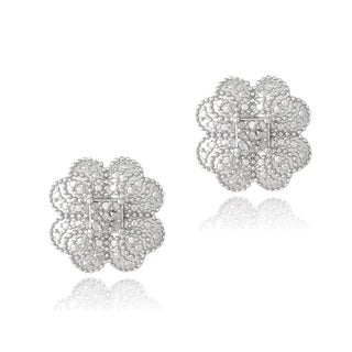 DB Designs Silver 1/10ct TDW Diamonds Clover Stud Earrings (J, I3)