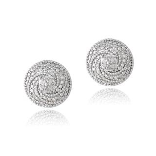DB Designs Sterling Silver 1/10ct TDW Diamonds Swirl Earrings (J, I3)