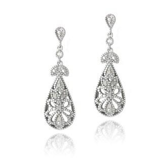 DB Designs Silver 1/10ct TDW Diamonds Filigree Teardrop Earrings (J, I3)