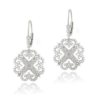 DB Designs Sterling Silver 1/10ct TDW Diamonds Clover Earrings (J,I3)
