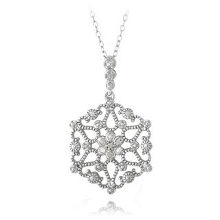 DB Designs Sterling Silver 1/10ct TDW Diamonds Snowflake Necklace (J, I3)