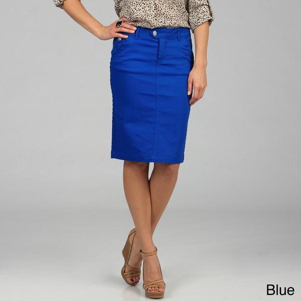 tabeez s colored knee length twill denim skirt