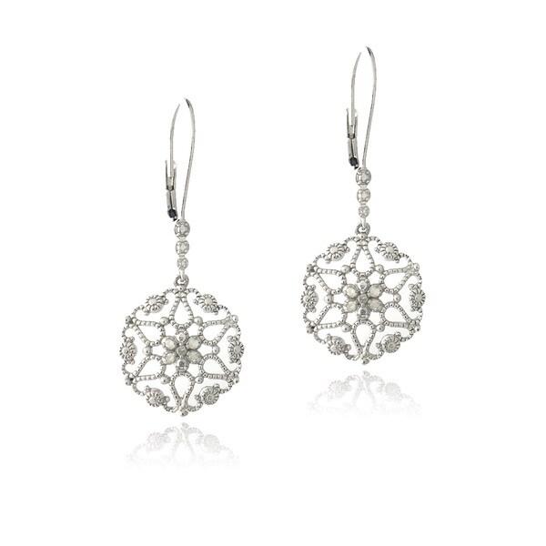 DB Designs Sterling Silver 1/10ct TDW Diamonds Filigree Earrings (J, I3)