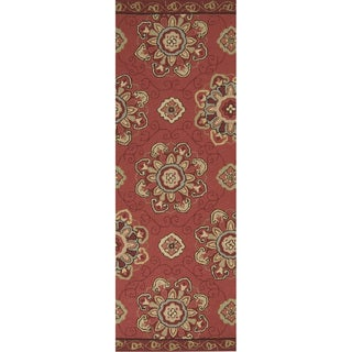 Hand-hooked Red Clay Indoor/Outdoor Medallion Rug (2'6 x 8')