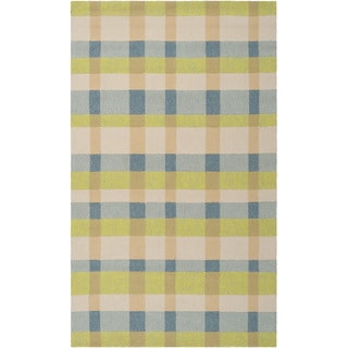 Hand-hooked Seashore Indoor/Outdoor Bright Plaid Rug (5' x 8')