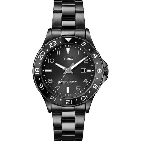 Timex Men's T2P0289J Ameritus Sport Black Sunray Dial, Black IP Stainless Steel Bracelet Watch