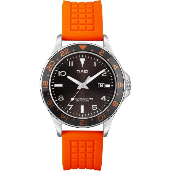 Timex Men's T2P031 Ameritus Sport Black Sunray Dial Orange Watch