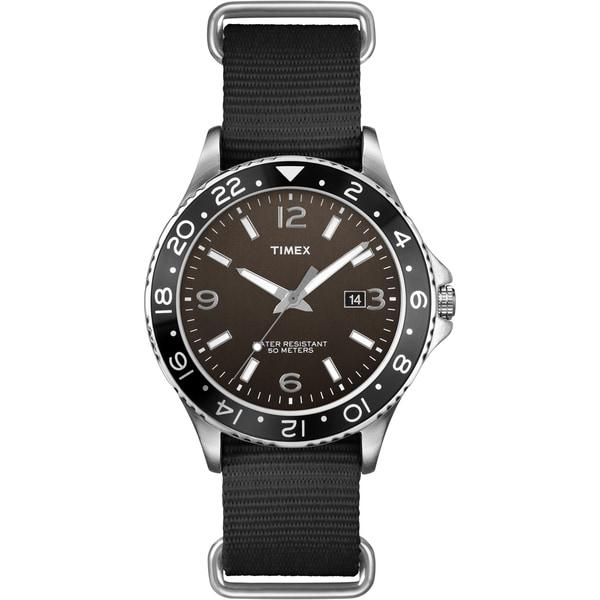 Timex Men's T2P034 Fashion Ameritus Sport Black Dial, Black Nylon Slip Thru Strap Watch